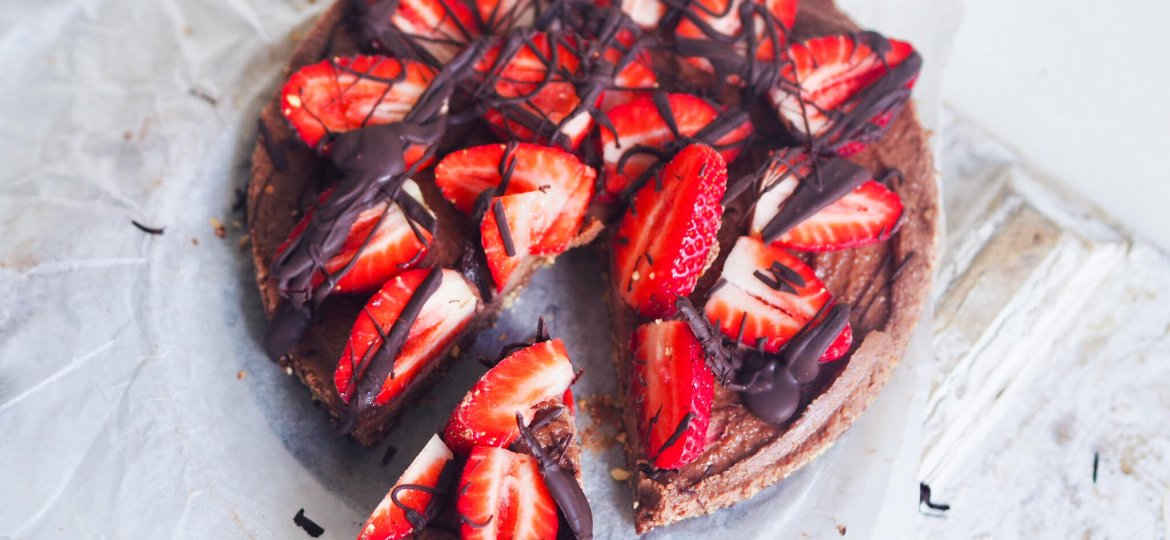 Decadent chocolate and strawberry tart