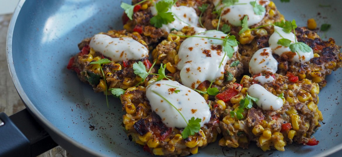 Corn fritters with garlic yoghurt