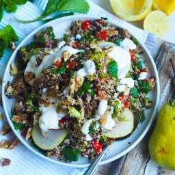 Roasted Eggplant and Quinoa Salad with Pear and Mint