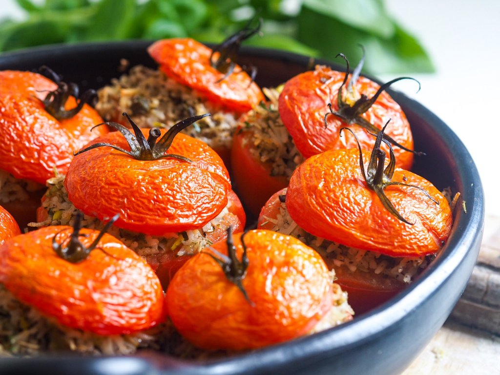 Vegan Rice Stuffed Tomatoes