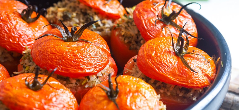 Vegan Rice Stuffed Tomatoes