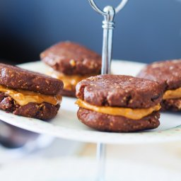 Chocolate and peanut butter cookie sandwich