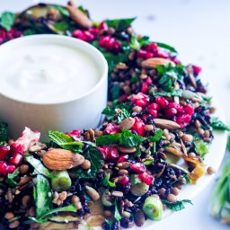 Grilled eggplant salad with black rice and pomegranate